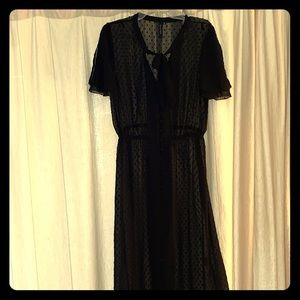 Knot sisters Sheer Black Button-Up Dress Size M